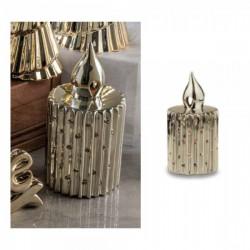 Candela ceramica oro lucida con luce LED. CM 22