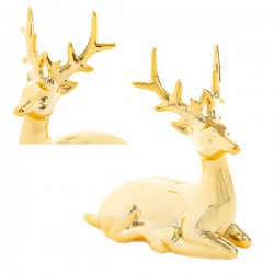 Renna in porcellana lucida oro. CM 18.5x7.5 H 16.5