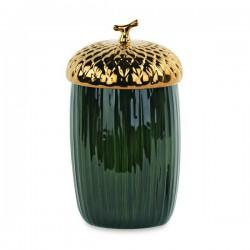 Contenitore forma ghianda oro e verde in ceramica lucida. Diam. 11.5 H 20