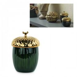 Contenitore forma ghianda oro e verde in ceramica lucida. Diam. 10.5 H 20