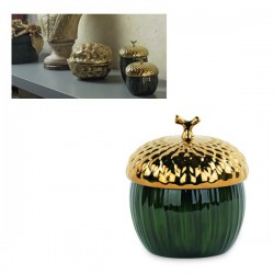 Contenitore forma ghianda oro e verde in ceramica lucida. Diam. 11.5 H 13