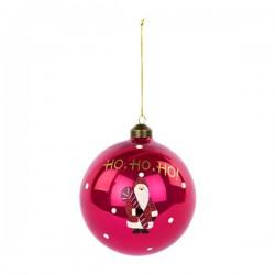 """Palla natalizia in vetro con babbo natale e scritta """"Ho-Ho-Ho"""". Diam. 12"""