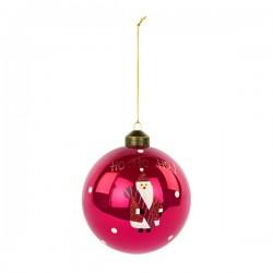 """Palla natalizia in vetro con babbo natale e scritta """"Ho-Ho-Ho"""". Diam. 10"""