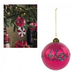 """Palla natalizia in vetro con scritta glitter """"Ho-Ho-Ho"""". Diam. 10"""