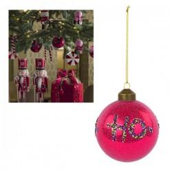 """Palla natalizia in vetro con scritta glitter """"Ho-Ho-Ho"""". Diam. 8"""