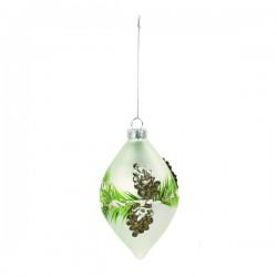 Goccia in vetro da appendere con decori pino e pigne. CM 13