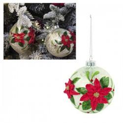 Palla in vetro da appendere con decori stelle natalizie e glitter. Diam. 10