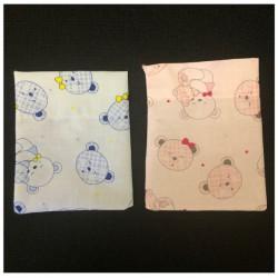 Sacchetto cotone con stampa oro rosa o azzurro. CM 11x13