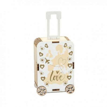 Scatola portaconfetti in legno a forma di valigia con decori viaggio LOve. Parte contenitiva: CM 7,5x5 H 3