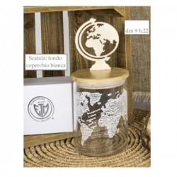 Barattolo vetro con tappo legno globo e scatola.DIAM.9 H22