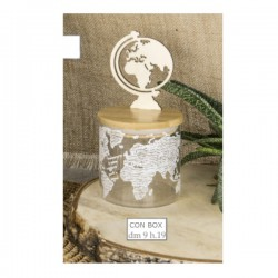 Barattolo vetro con tappo legno globo e scatola.DIAM.9 H19