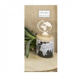 Barattolo vetro con tappo legno globo e scatola.DIAM.6 H14
