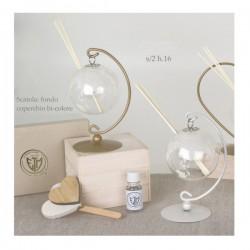 Diffusore vetro globo con stand metallo e scatola.Ass.2 H16