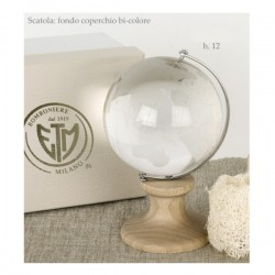 Globo vetro con base legno e scatola.H12