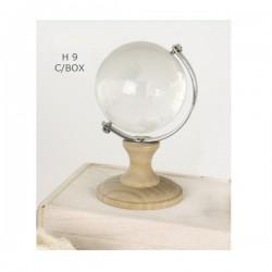 Globo vetro con base legno e scatola.H9
