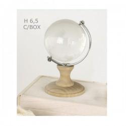 Globo vetro con base legno e scatola.H 6.5