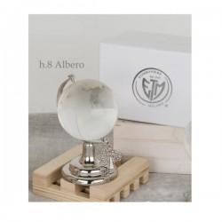 Globo vetro con base metallo e ciondolo albero della vita e scatola. CM 8