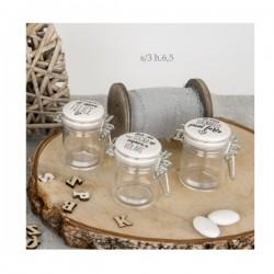 Barattolo vetro con tappo ceramica con scritte. Ass.3 H6.5