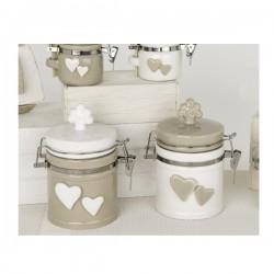 Barattolo ceramica bicolore con tappo albero e applicazioni cuore.Ass.2 H13