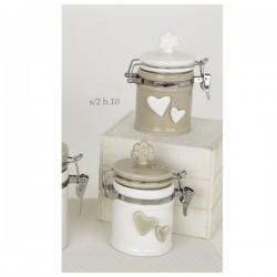 Barattolo ceramica bicolore con tappo albero e applicazioni cuore.Ass.2 H10