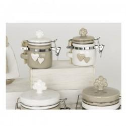 Barattolo ceramica bicolore con tappo albero e applicazioni cuore.Ass.2 H8