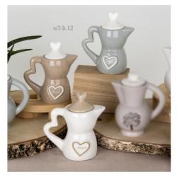Zuccheriera ceramica con scritta, tipo moka.Ass.3 H12