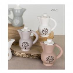 Zuccheriera ceramica tipo moka con scritta e albero vita.Ass.3 H11