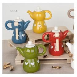 Zuccheriera ceramica con scritta e cuori tipo moka.Ass.4 H11