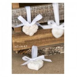 Ciondolo ceramica a cuore con fiori e nastro.Ass.2 CM.4,5