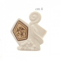 Soggetto in gesso con applicazione legno Cresima.CM4