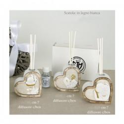 Diffusore resina a cuore con inserti e scatola legno.CM.7