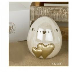 Uovo ceramica brillante con led e scatola.H12