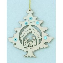 Albero con la Sacra Famiglia e cristalli Swarovski