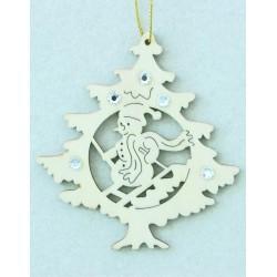Albero natalizio con pupazzo di neve e cristalli Swarovski