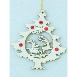 Albero natalizio con Babbo natale e renna e cristalli Swarov