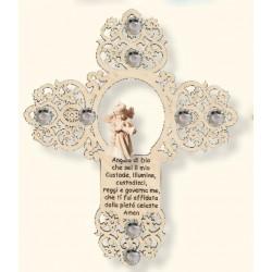 Croce con angelo e preghierina e Swarovski