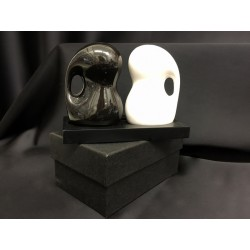 Set sale e pepe ceramica bianco e nero con base e scatola