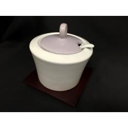 Zuccheriera ceramica bianca e lilla con base legno