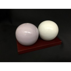 Set sale e pepe ceramica bianco e lilla con base legno e scatola