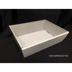 Vassoio cartoncino trapuntato grigio con coperchio pvc. CM 29x21 H 9