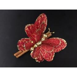 Farfalla glitter CM 11x8 su cannella CM 10