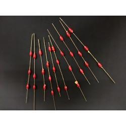 Set 12 pistilli con perline rosse- CM 18 circa