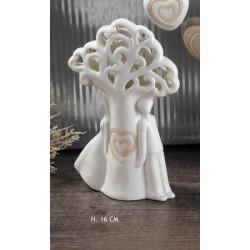 Albero vita ceramica con coppia stilizzata e luce LED H 16