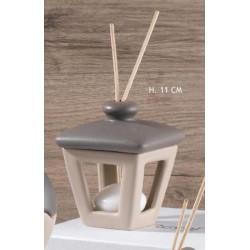 Profumatore forma lanterna (tetto contenitore per liquido) in ceramica bicolor H 11 con scatola
