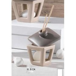 Profumatore forma lanterna (tetto contenitore per liquido) in ceramica bicolor H 8 con scatola