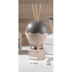Profumatore forma mongolfiera in ceramica bicolor H 14