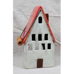 Lanterna foma casetta ceramica con tetto rosso e manico 11X9 H23