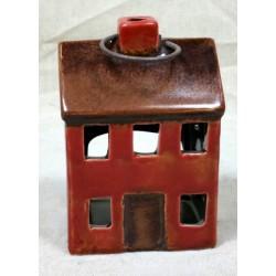 Lanterna foma casetta ceramica rossa e manico 6X4 H9