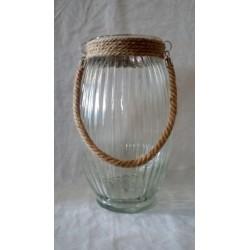 Lanterna vetro da appendere con manico corda. H 38