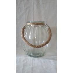 Lanterna vetro da appendere con manico corda. H 15